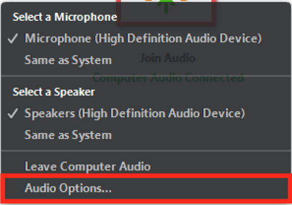 Audio Optionen